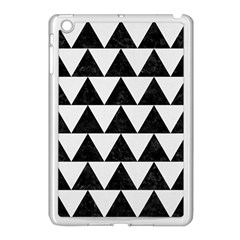 Triangle2 Black Marble & White Linen Apple Ipad Mini Case (white) by trendistuff