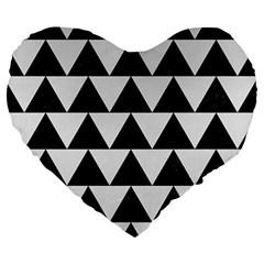 TRIANGLE2 BLACK MARBLE & WHITE LINEN Large 19  Premium Heart Shape Cushions