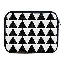 Triangle2 Black Marble & White Linen Apple Ipad 2/3/4 Zipper Cases by trendistuff