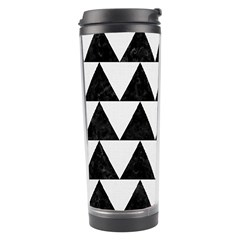 Triangle2 Black Marble & White Linen Travel Tumbler by trendistuff