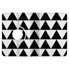 Triangle2 Black Marble & White Linen Kindle Fire Hdx Flip 360 Case by trendistuff