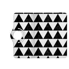 Triangle2 Black Marble & White Linen Kindle Fire Hdx 8 9  Flip 360 Case by trendistuff