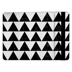 Triangle2 Black Marble & White Linen Samsung Galaxy Tab Pro 12 2  Flip Case by trendistuff