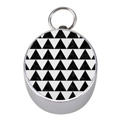 Triangle2 Black Marble & White Linen Mini Silver Compasses by trendistuff