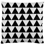 TRIANGLE2 BLACK MARBLE & WHITE LINEN Large Flano Cushion Case (One Side)