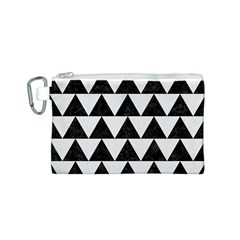 Triangle2 Black Marble & White Linen Canvas Cosmetic Bag (s) by trendistuff
