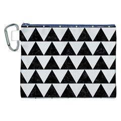 Triangle2 Black Marble & White Linen Canvas Cosmetic Bag (xxl) by trendistuff