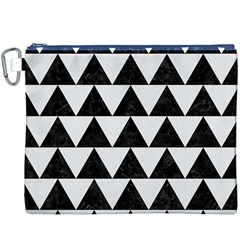 Triangle2 Black Marble & White Linen Canvas Cosmetic Bag (xxxl) by trendistuff