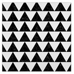 TRIANGLE2 BLACK MARBLE & WHITE LINEN Large Satin Scarf (Square)