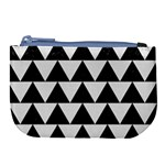 TRIANGLE2 BLACK MARBLE & WHITE LINEN Large Coin Purse Front