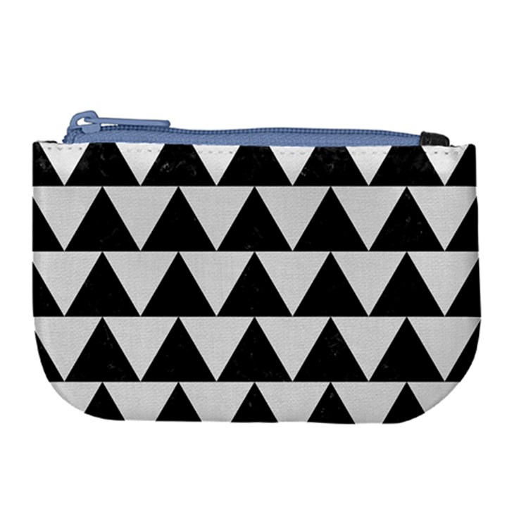 TRIANGLE2 BLACK MARBLE & WHITE LINEN Large Coin Purse