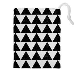 TRIANGLE2 BLACK MARBLE & WHITE LINEN Drawstring Pouches (XXL)