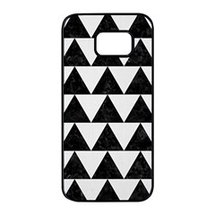 TRIANGLE2 BLACK MARBLE & WHITE LINEN Samsung Galaxy S7 edge Black Seamless Case