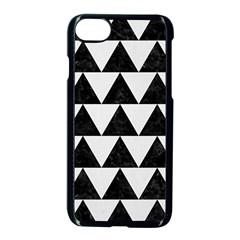 TRIANGLE2 BLACK MARBLE & WHITE LINEN Apple iPhone 7 Seamless Case (Black)