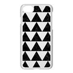 TRIANGLE2 BLACK MARBLE & WHITE LINEN Apple iPhone 8 Seamless Case (White)