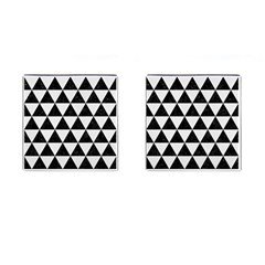 Triangle3 Black Marble & White Linen Cufflinks (square) by trendistuff