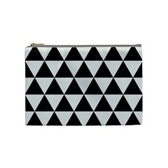 Triangle3 Black Marble & White Linen Cosmetic Bag (medium)  by trendistuff