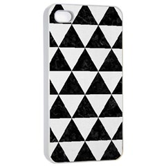 Triangle3 Black Marble & White Linen Apple Iphone 4/4s Seamless Case (white) by trendistuff