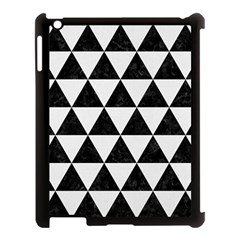 Triangle3 Black Marble & White Linen Apple Ipad 3/4 Case (black) by trendistuff