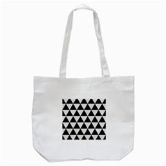Triangle3 Black Marble & White Linen Tote Bag (white) by trendistuff