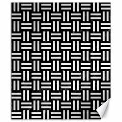 Woven1 Black Marble & White Linen (r) Canvas 20  X 24   by trendistuff