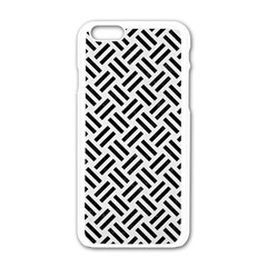 Woven2 Black Marble & White Linen Apple Iphone 6/6s White Enamel Case by trendistuff