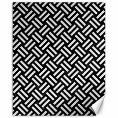 Woven2 Black Marble & White Linen (r) Canvas 16  X 20