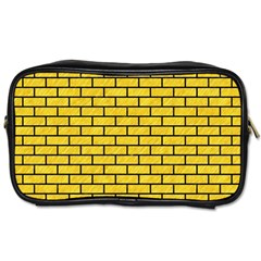Brick1 Black Marble & Yellow Colored Pencil Toiletries Bags 2 Side by trendistuff
