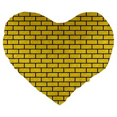 Brick1 Black Marble & Yellow Colored Pencil Large 19  Premium Flano Heart Shape Cushions by trendistuff