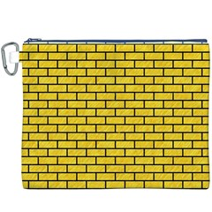 Brick1 Black Marble & Yellow Colored Pencil Canvas Cosmetic Bag (xxxl) by trendistuff