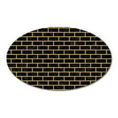 Brick1 Black Marble & Yellow Colored Pencil (r) Oval Magnet by trendistuff