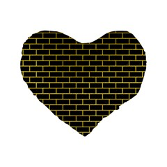 Brick1 Black Marble & Yellow Colored Pencil (r) Standard 16  Premium Heart Shape Cushions by trendistuff