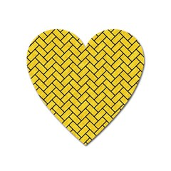 Brick2 Black Marble & Yellow Colored Pencil Heart Magnet by trendistuff