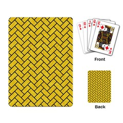 Brick2 Black Marble & Yellow Colored Pencil Playing Card by trendistuff