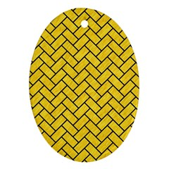 Brick2 Black Marble & Yellow Colored Pencil Oval Ornament (two Sides) by trendistuff