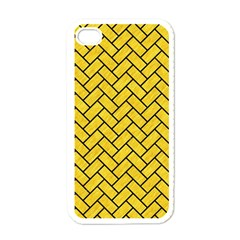 Brick2 Black Marble & Yellow Colored Pencil Apple Iphone 4 Case (white)