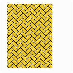 Brick2 Black Marble & Yellow Colored Pencil Large Garden Flag (two Sides) by trendistuff