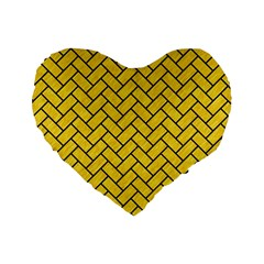 Brick2 Black Marble & Yellow Colored Pencil Standard 16  Premium Heart Shape Cushions by trendistuff