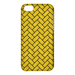 Brick2 Black Marble & Yellow Colored Pencil Apple Iphone 5c Hardshell Case by trendistuff