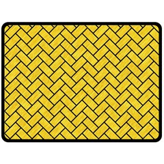 Brick2 Black Marble & Yellow Colored Pencil Double Sided Fleece Blanket (large)  by trendistuff