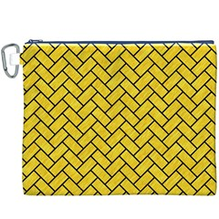 Brick2 Black Marble & Yellow Colored Pencil Canvas Cosmetic Bag (xxxl) by trendistuff