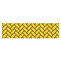 Brick2 Black Marble & Yellow Colored Pencil Satin Scarf (oblong) by trendistuff