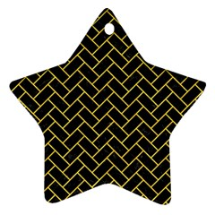 Brick2 Black Marble & Yellow Colored Pencil (r) Ornament (star) by trendistuff