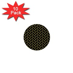 Brick2 Black Marble & Yellow Colored Pencil (r) 1  Mini Buttons (10 Pack)  by trendistuff