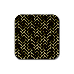 Brick2 Black Marble & Yellow Colored Pencil (r) Rubber Square Coaster (4 Pack)  by trendistuff