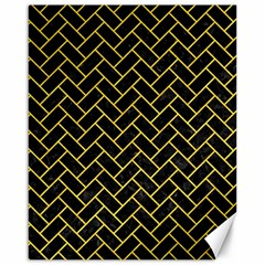 Brick2 Black Marble & Yellow Colored Pencil (r) Canvas 16  X 20   by trendistuff
