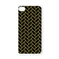 Brick2 Black Marble & Yellow Colored Pencil (r) Apple Iphone 4 Case (white)