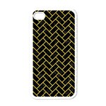 BRICK2 BLACK MARBLE & YELLOW COLORED PENCIL (R) Apple iPhone 4 Case (White) Front