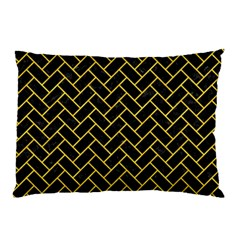 Brick2 Black Marble & Yellow Colored Pencil (r) Pillow Case (two Sides) by trendistuff