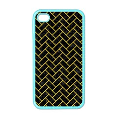 Brick2 Black Marble & Yellow Colored Pencil (r) Apple Iphone 4 Case (color) by trendistuff